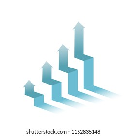 business graph moving upward isolated over a white background