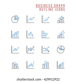 Business Graph Outline Icons