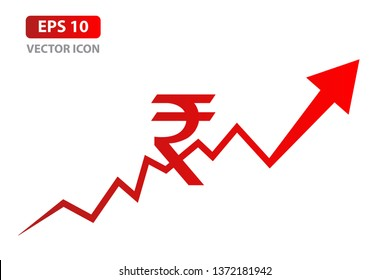 Business graph with Rupee sign. Indian Rupee growth concept. Vector illustration