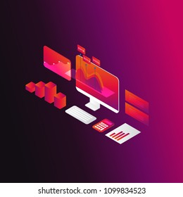 Business graph statistics 3d isometric vector illustration design. Business data analysis, seo analytics, financial report, market stats, infographic elements. Business strategy and planning