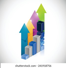 business graph and success up arrows illustration design over a white background