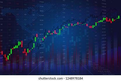 Graphique d'entreprise avec tendance. Concept d'affichage des données boursières. Prix de la Bourse. Graphique de suivi de la Bourse à la bougie. Graphique de la Bourse économique.