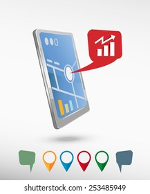 Business graph web icon and perspective smartphone vector realistic. Set of bright map pointers for printing, website, presentation element and application mockup.