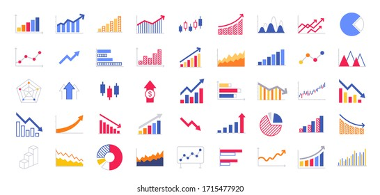 Business graphs and charts icons. Business infographics icons. Statistic and data, charts diagrams, money, down or up arrow, economy reduction. Financial chart. Vector illustration.