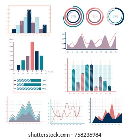Business graphs statistics and big data marketing analysis histogram vector
