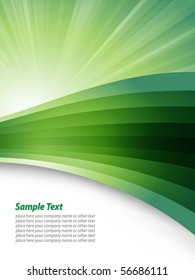 Business green template with abstract waves circles and sample text
