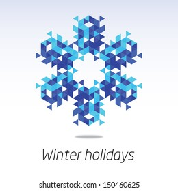 Business greeting christmas and New year card. Abstract triangle snowflake. Winter season 2014
