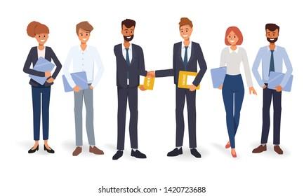 Business group people teamwork concept background. Illustration vector flat design.