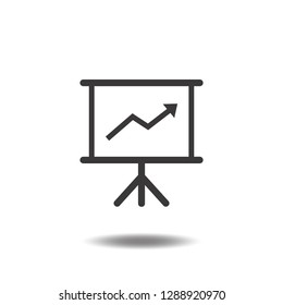Business growing chart presentation icon vector flat sign symbols logo illustration isolated on white background beautiful black color.Concepts objects design for progress, success, plan.