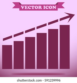 Business growing graph and chart icon,sign,symbol and flat style for app, web and digital design.