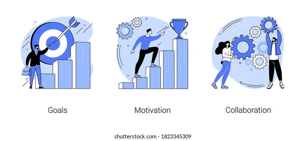 Business growth abstract concept vector illustration set. Goals, motivation and collaboration, achievement and coaching, enterprise cooperation, business meeting, smart planning abstract metaphor.