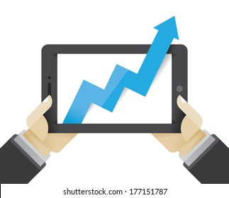 Business growth arrow on tablet computer in businessman hands