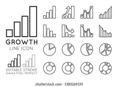 Business growth charts, set of finance increasing and decreasing diagram. Circular pie charts. Graph with connected dots. Editable Stroke, 64x64 pixel perfect.