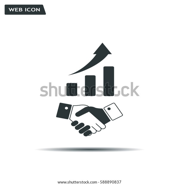 Business growth concept. Handshake with graph stock.