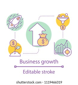 Business growth concept icon. Profit rise idea thin line illustration. Startup launch. Business success. Vector isolated outline drawing. Editable stroke