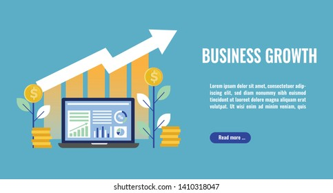 Business growth concept illustration. Business analytics, stack of money, arrows and graph stats. Thick line style banner. Trendy vector placard with text and button