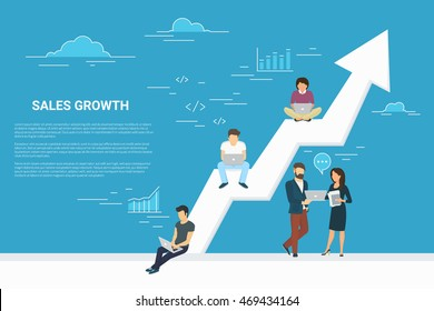 Business growth concept illustration of business people working together as team and sitting on the big arrow. Flat people working with laptops to develop business. Blue background with copy space