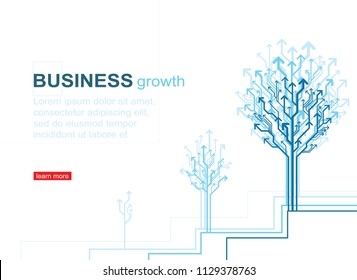 Business growth concept. Vector abstract background with growing tree made of arrows leading in different directions