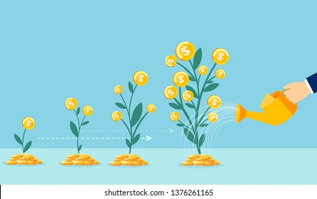 Business growth concept. Vector of a business man hand with pot watering profitable money tree
