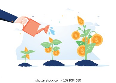 Business growth concept. Vector of a business man hand with pot watering profitable money tree. Business growth. Attract investitions startup, profit income. Business success investments, finances