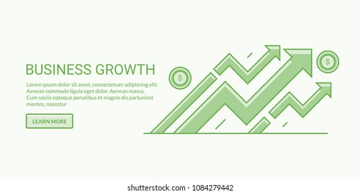 Business growth, development, generating revenue flat line vector illustration with texts