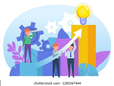 Business growth graph, teamwork concept. People pulling growth arrow up. Poster for social media, banner, presentation, web page. Flat design vector illustration
