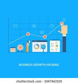 Business growth hacking - marketing strategy - Digital analytics flat vector illustration