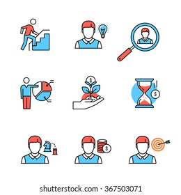 Business growth and human resource management flat style icons. Thin line art illustrations isolated on white.