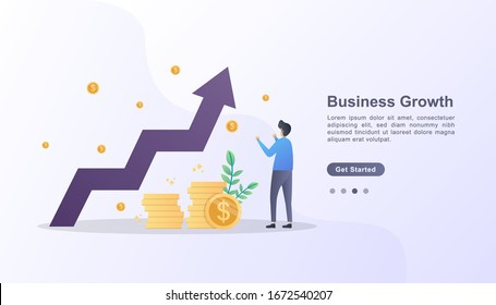 Business growth illustration concept with character