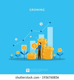Business growth illustration for smart investment concept. Profit performance or income with pile coins symbol of return on investment ROI