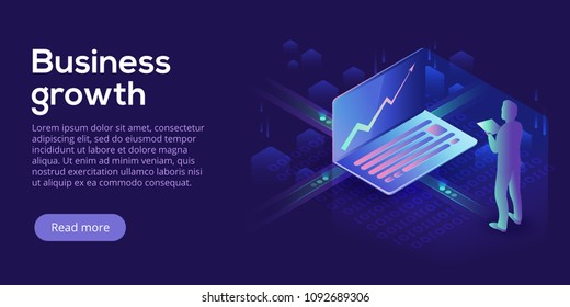 Business growth isometric vector illustration. Abstract businessman with laptop background. Financial increase or stock exchange website header layout. Digital technology concept.