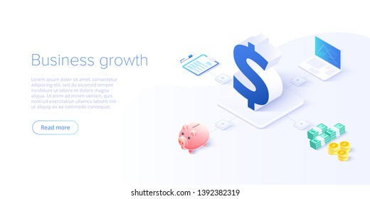 Business growth isometric vector illustration. Data analytics for company marketing solutions or financial performance. Budget accounting or statistics concept.