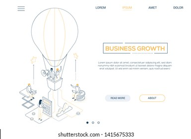 Business growth - line design style isometric web banner on white background with copy space for text. A header with business people flying on a hot air balloon, images of coins, calculator, megaphone