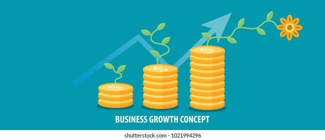Business growth, making money online, marketing strategy flat vector concept