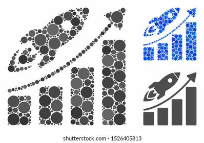 Business growth mosaic for business growth icon of spheric dots in variable sizes and color hues. Vector dots are grouped into blue mosaic. Dotted business growth icon in usual and blue versions.