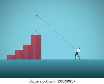 Business growth objective vector concept with businessman pulling graph up on pulley. Symbol of success, achievement, challenge, strategy, goals, targets and leadership. Eps10 illustration.