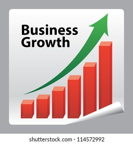 Business Growth paper icon concept with red graph and green arrow - Vector