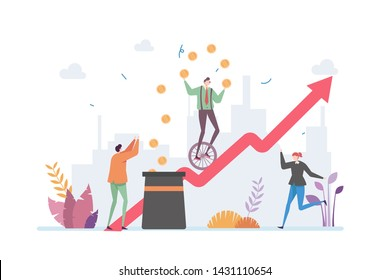 Business Growth Risk Management Vector Illustration Concept Showing Clown Juggling For Risk In a Company Profit Growth, Suitable for landing page, ui, web, intro card, editorial, flyer, and banner