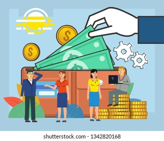 Business growth, savings. People stand near big wallet with cash, credit card. Poster for social media, banner, web page, presentation. Flat design vector illustration