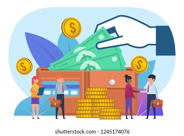 Business growth, savings. Small people stand near big wallet with cash, credit card. Poster for social media, banner, web page, presentation. Flat design vector illustration