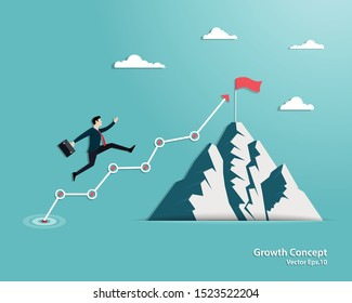 Business growth strategies concept. Businessman walking on the arrow up to goal the success. Mountain with success flag, Achievement, Leadership, Career, Vector illustration flat