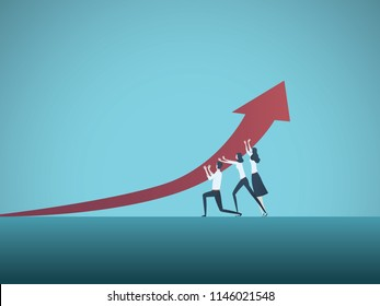 Business growth and success vector concept. Symbol of leadership, vision, progress, challenge. Eps10 vector illustration.