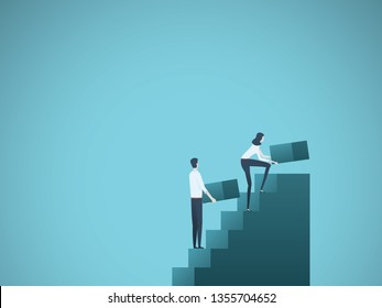 Business growth vector concept with businessman and businesswoman building steps as team. Symbol of success, achievement, ambition, motivation and teamwork. Eps10 vector illustration.