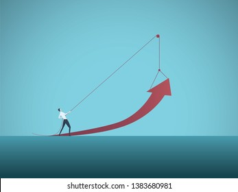 Business growth vector concept with businessman pulling arrow up on pulley. Symbol of success, achievement, challenge, power, strength and leadership. Eps10 vector illustration.