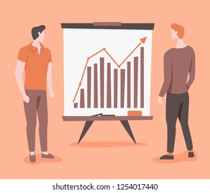 Business growth vector illustration with graph and two man