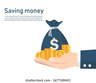 business hand with bag and coin money. saving money concept. vector illustration flat design. isolated on white background. Return on investment. Income and compensation.