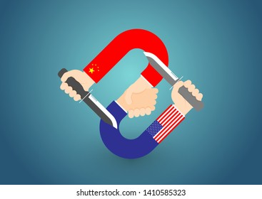 Business Hand check of America and China flag with knife stabbed in the back, Trade war and tax crisis concept design illustration isolated on blue gradients background with copy space, vector eps 10