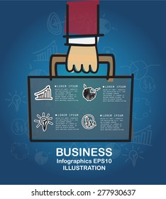 Business hand drawn concept with icons background. vector