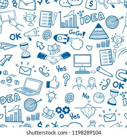Business hand drawn doodles seamless pattern background vector