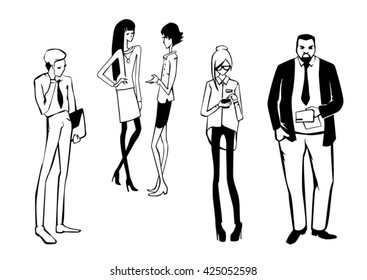 business hand drawn people talk use smart phone talking on phone girls man managers director vector illustration silhouette black and white background